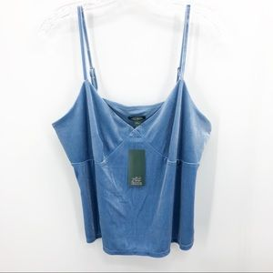 Wild Fable Blue Velvet Cropped Cami NWT XL